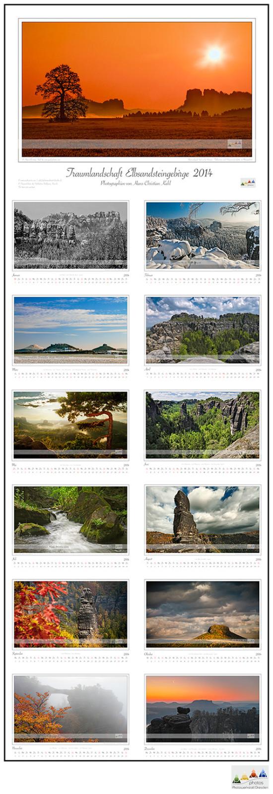 Bildkalender 2014 Traumlandschaft Elbsandsteingebirge