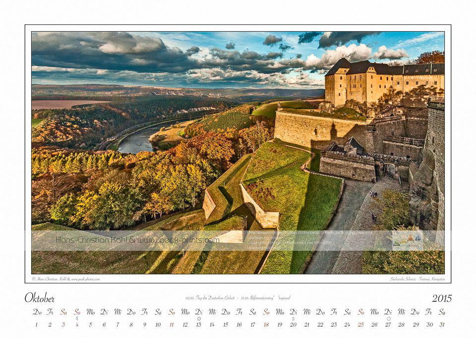 """Kalender Sächsische Schweiz """"Traumlandschaft Elbsandsteingebirge 2015"""" Oktober"""