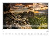 Kalender Traumlandschaft Elbsandsteingebirge 2016, Saechsische Schweiz, Schrammsteine, Juli