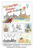 Set Dresden Zum Ausmalen. Enthält 5 ausgewählte Motive der Serie Dresden:  A-400 Dresden Canalettoblick,  A-402 Dresden Frauenkirche,  A-404 Der Goldene Reiter, A-405 Sixtinische Engel,  A-407 Dresdner Zwinger, Kronentor. Abbildung zeigt Deckblatt der Set-Verpackung.