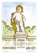 Die Postkarte zum Ausmalen; Postkarte Dresden Zwingerputte. Eine der vielen drolligen Putten welche die Ballustraden des Zwingers schmücken. Mit seinem Kornkranz und dem Garbenbund schaut er zufrieden in die Welt. Wird ihn demnächst Getier umsummen oder sich der Himmel bevölkern? Die Entscheidung liegt in der Hand des Malers. Es ist sogar Platz für einen Gruß an den Empfänger.