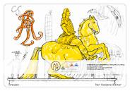 Die Postkarte zum Ausmalen; Postkarte Dresden Goldener Reiter August der Starke. Zwei Zeugnisse der barocken Pracht und Macht Sachsens: August der Starke als Cäsar in goldener Rüstung, stolz reitet er den Lipizzanerhengst, und das verschlungene AR, die Initialen von Augustus Rex. Auf der Karte ist genügend Platz vorhanden, um die Gegenwart dazuzuholen und Historisches neu zu gestalten.