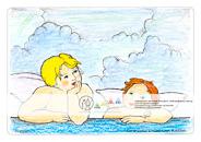 """Die Postkarte zum Ausmalen; Postkarte Dresden Sixtinische Engel nach Raffael. Herausgelöst aus dem Gemälde Raffaels, der """"Sixtinischen Madonna"""", reisten die zwei Engelchen bereits um die ganze Welt. Hier kann man diesen humorvollen Wesen eine persönliche Note verleihen. Der offene Himmel hat Platz für eigene Grüße und Wünsche an den Empfänger."""