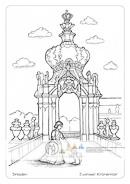 Die Postkarte zum Ausmalen; Postkarte Dresden Kronentor Dresdner Zwinger. Pöppelmanns graziles Kronentor ist das Sinnbild des Zwingers. Die prächtige Kronenhaube ist goldverziert. Das lustwandelnde Fürstenkind wird von seinem Hündchen begleitet. Ob naturalistisch oder phantasievoll gestaltet, das Motiv lädt ein zu verspieltem leichten Ausdruck.