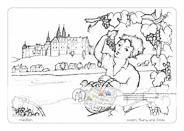 Meißen – Wein, Burg und Dom Auf der einen Seite die Weinbeeren, die zum berühmten Meißner Wein gekeltert werden, auf der anderen Seite die Burg und der Dom, die Wahrzeichen von Meißen – beides vereint an der Elbe. Viele Gestaltungsmöglichkeiten für die vorgezeichneten Motive und Platz für eigene Ideen, die das Bild weiter beleben können.