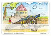 Die Postkarte zum Ausmalen; Postkarte Festung Königstein Friedrichsburg mit Kanone. Ein verspieltes, detailreiches Motiv. Erfordert etwas größere Aufmerksamkeit und Geduld, bietet vielfältige Möglichkeiten zur Farbgebung – nach Vorgabe oder nach Phantasie.