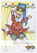 Die Postkarte zum Ausmalen; Postkarte Hohnsteiner Kasper. Die weltberühmte Puppenspielfigur Hohnsteiner Kasper. www.hohnstein.de