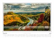 Traumlandschaft Elbsandstein 2017 Saechsische Schweiz, Lilienstein und Friedrichsburg · Festung Königstein, September